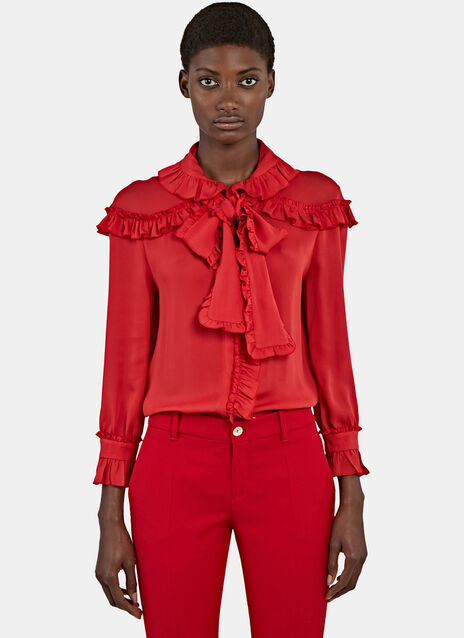 Ruffled Crêpe de Chine Shirt
