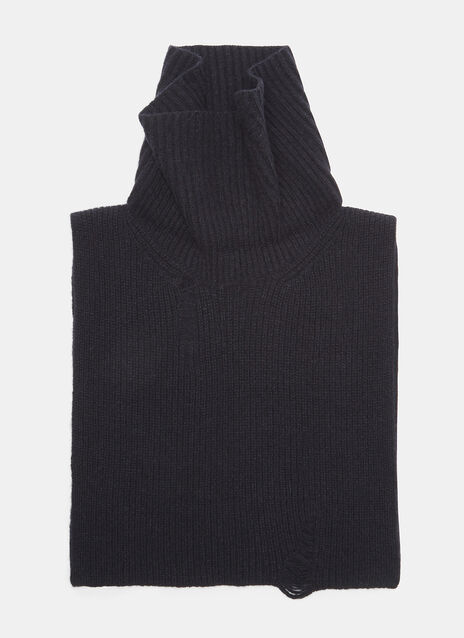 Ribbed Knit Roll Neck Scarf