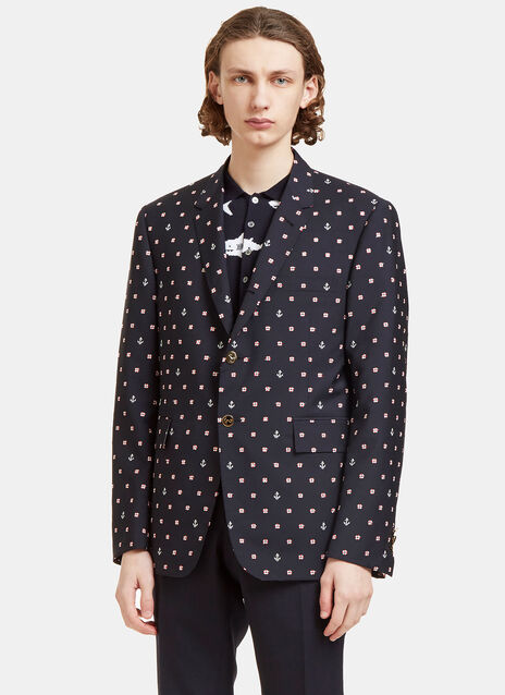 Buoyancy Ring and Anchor Embroidered Blazer Jacket