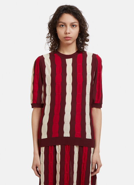Marni Striped Knit Short Sleeve Sweater