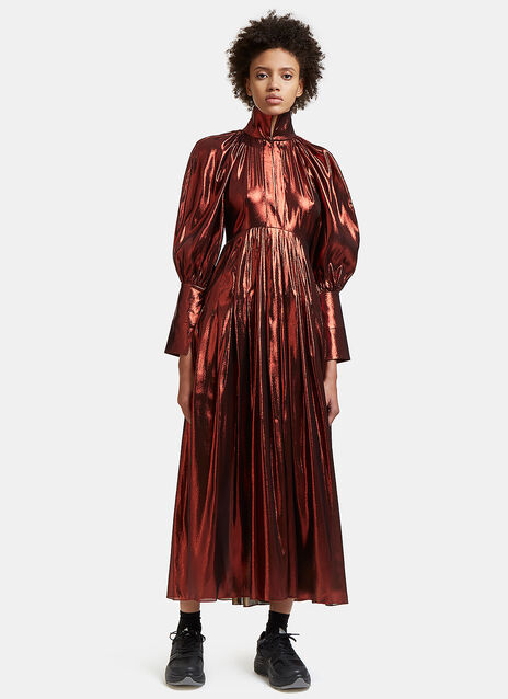 Contained Long Balloon Sleeved Metallic Pleated Dress
