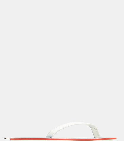 Striped Pebble Grain Thong Sandals in White