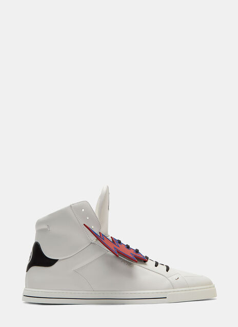 Lightning Bolt Stapled High-Top Sneakers