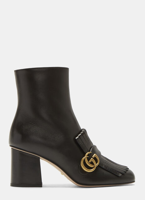 GG Mid-Heel Fringed Ankle Boot