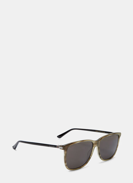 Marbled Contrast Arm Square Sunglasses