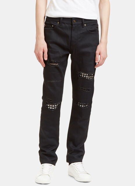 Destroyed Studded Leather Patch Jeans