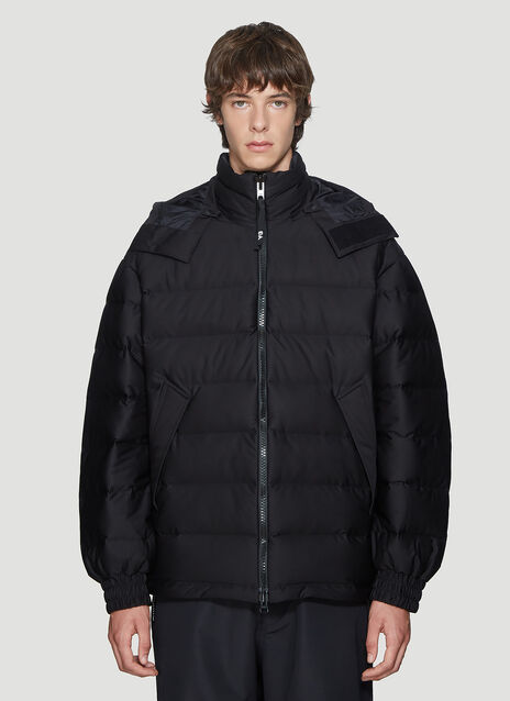 Y-3 Oversized Hooded Padded Jacket in Black