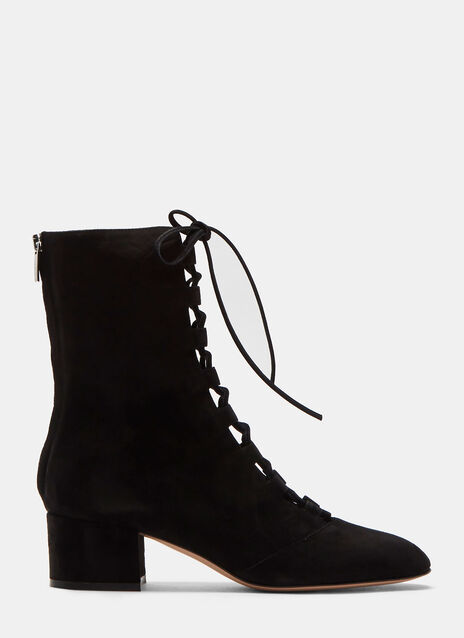Delia Lace-Up Block Heeled Ankle Boots