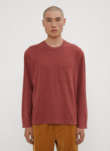 Our Legacy Long Sleeve Army T-Shirt in Burgundy