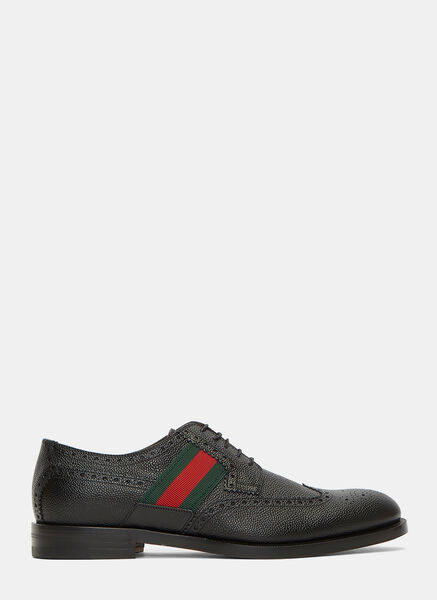 Striped Webbing Grained Leather Brogues