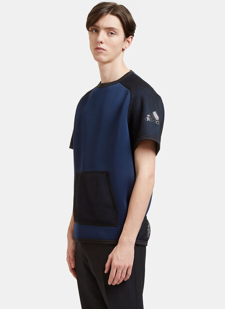 Oversized Mesh Panelled Neoprene T-Shirt