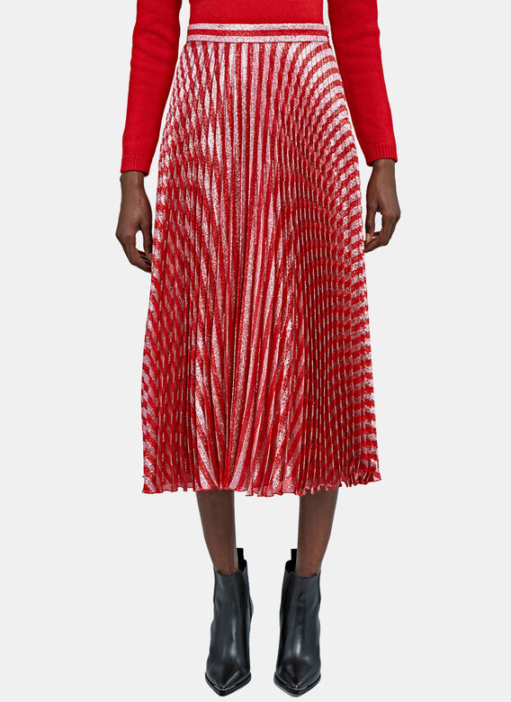 Gucci Pleated Lame Skirt