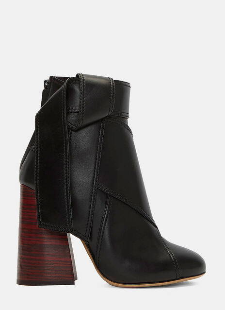 Suzanna Leather Tie Block Heeled Ankle Boots