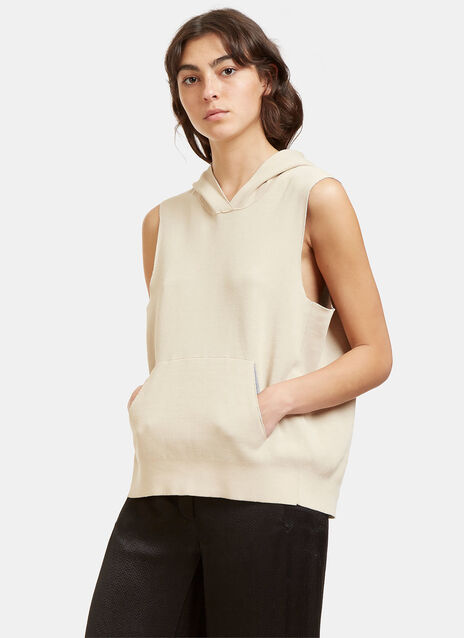 Oversized Bi-Colour Hooded Vest Top