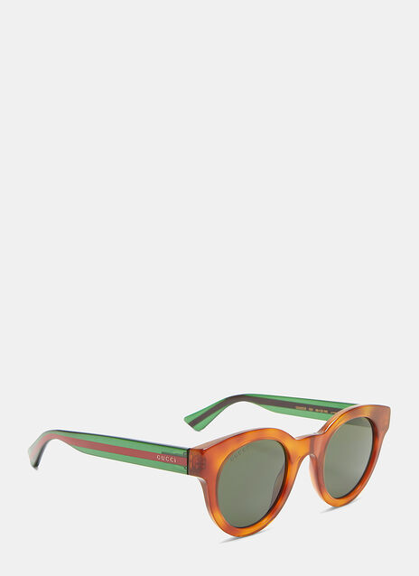 Tortoiseshell Striped Arm Round Sunglasses