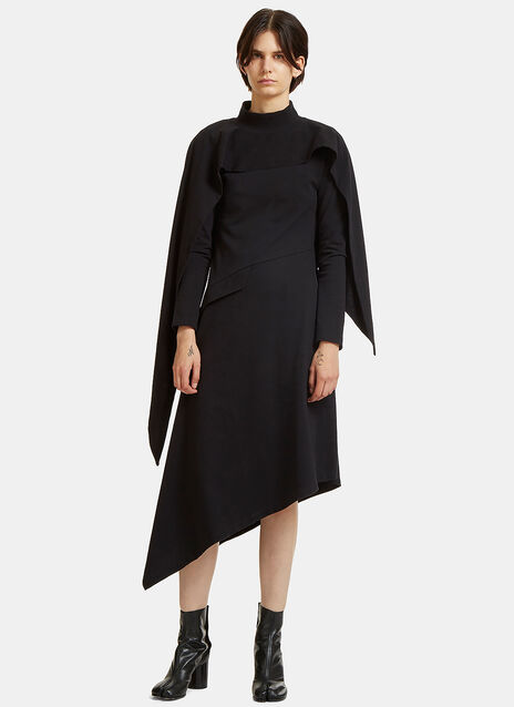 Asymmetric Button Roll Neck Dress