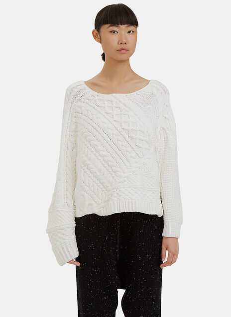 Baja East Cable Knit Boat Neck Sweater
