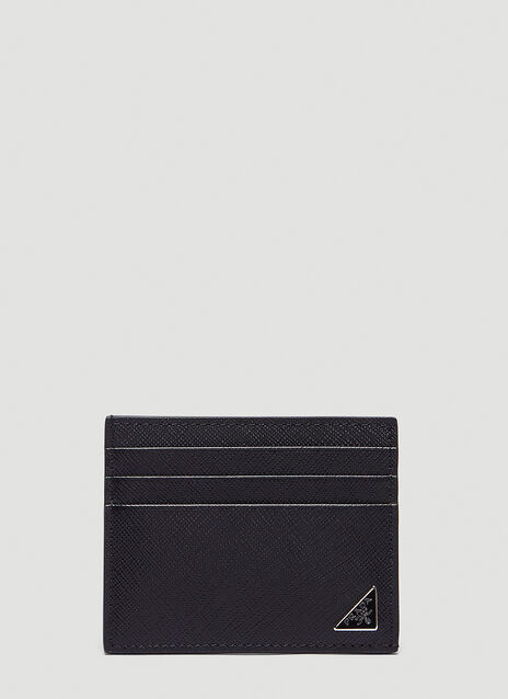 프라다 Prada Saffiano Triangle Logo Card Holder in Black