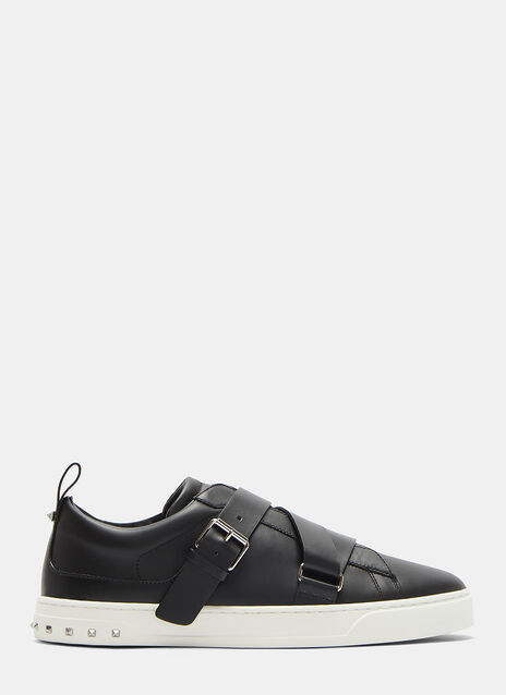 Valentino Buckled Strap Stud Sneakers