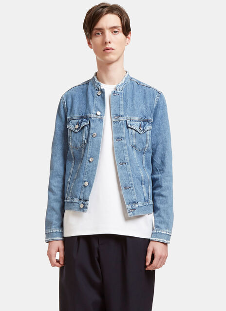Who Distressed Collarless Denim Jacket