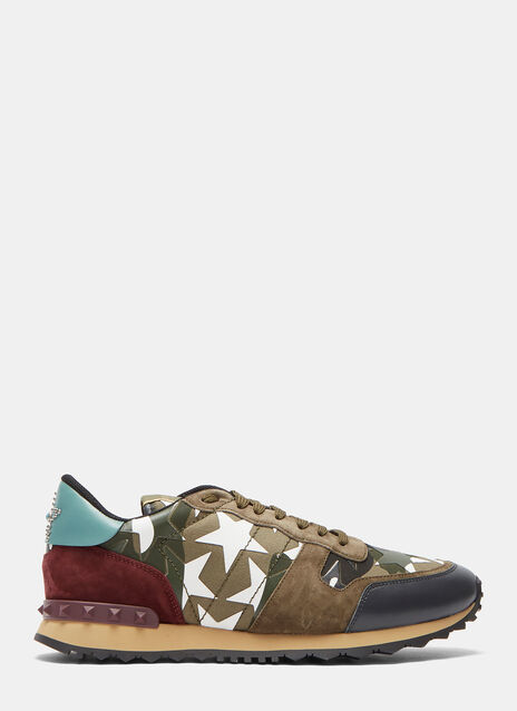 Camouflage Star Suede Panel Stud Sneakers