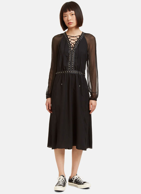 Millow Stud Trimmed Sheer Sleeved Dress
