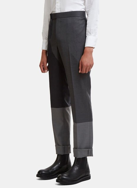 Thom Browne Straight Leg Twill Patchwork Chino Pants