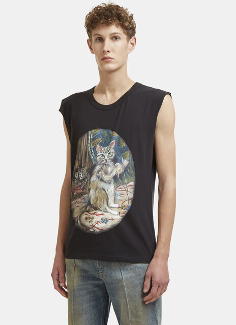 Cat Print Jersey Sleeveless T-Shirt