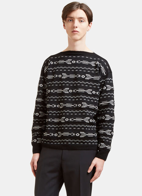 Arrow Knit Boat Neck Sweater