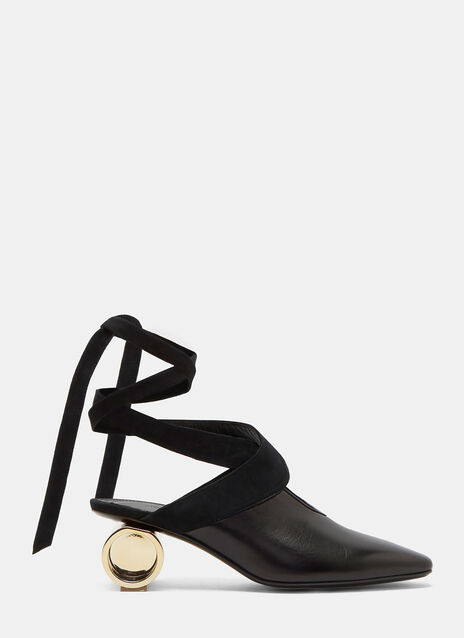 Cylinder Heeled Leather Ballerina Shoes
