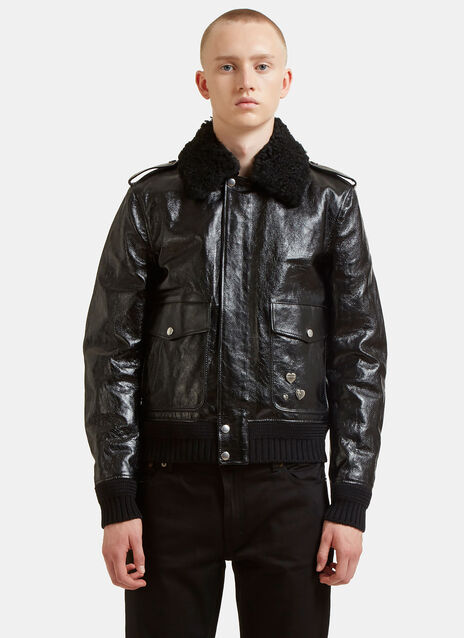 Shearling Heart Pinned Leather Bomber Jacket