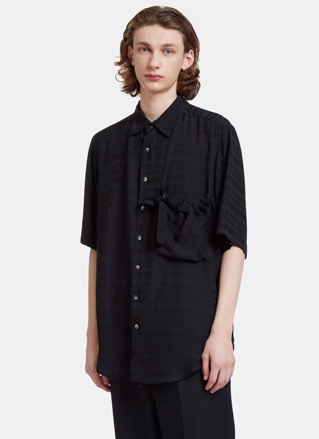 Arthur Textured Stripe Ruched Patch Pocket Shirt