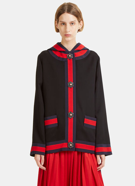 Embroidered Viscose Hooded Jacket