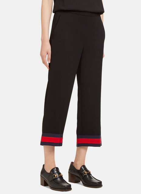 Cropped Striped Webbing Cuff Pants