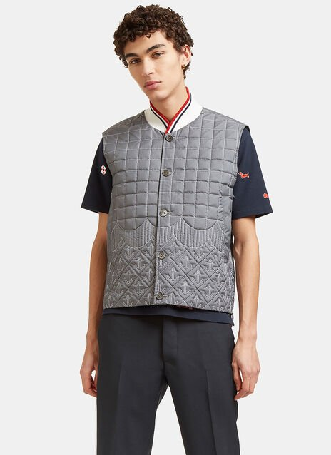 Quilted Anchor Embroidered Gilet