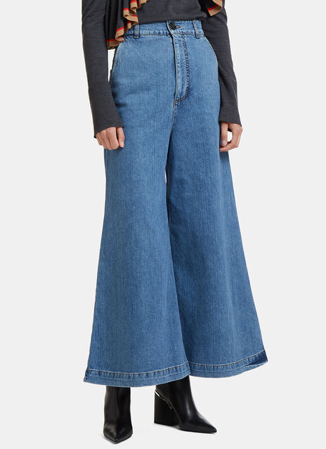 Wide Flared Denim Pants