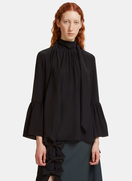 Bell Sleeved Crêpe de Chine Blouse