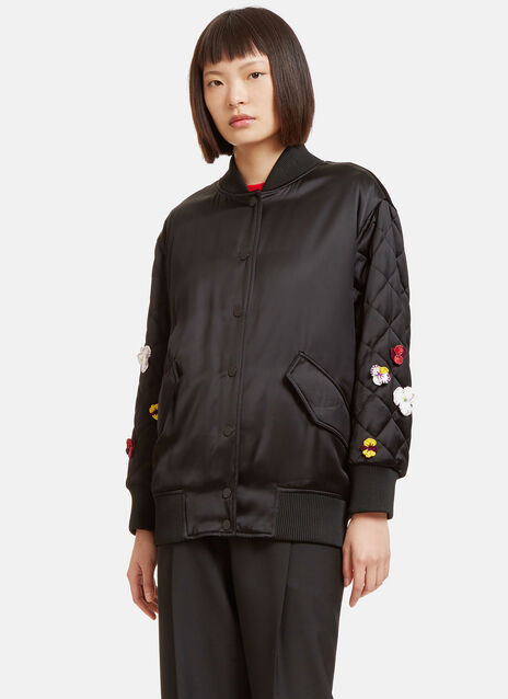 Flower Appliqué Embroidered Satin Bomber Jacket