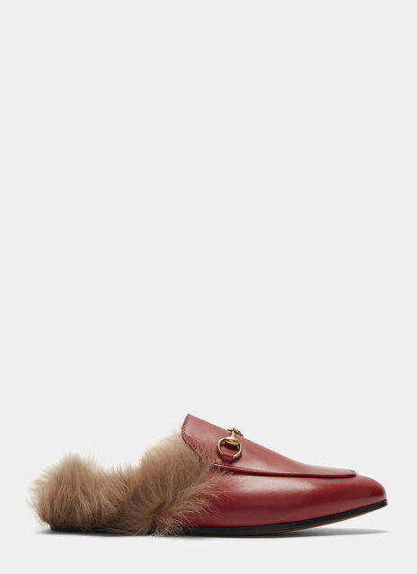 Princetown Lamb Fur Trimmed Slipper Shoes