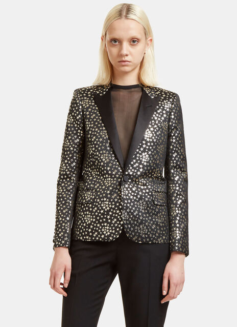 Metallic Star Print Blazer Jacket