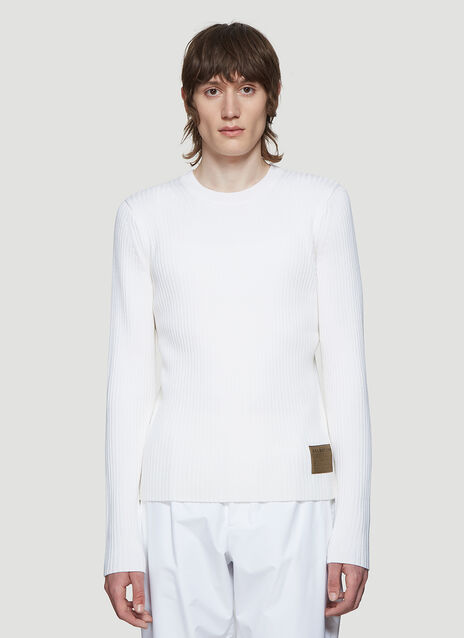 Helmut Lang Ribbed Knit Sweater in White