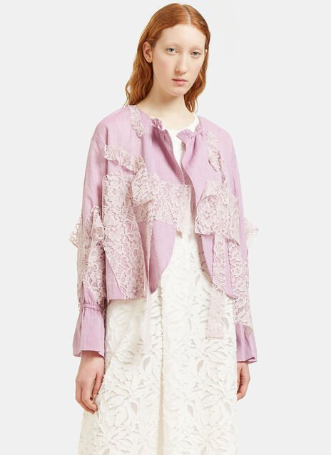 Draped Lace Patch Jacket