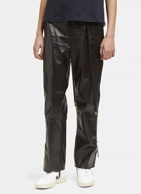 High-Waisted Leather Zipped Pants