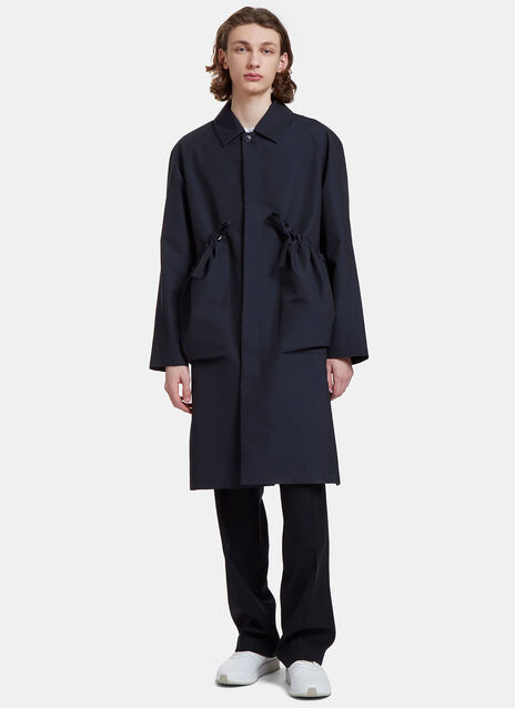 Traveller Ruched Pocket Tie Brocade Coat
