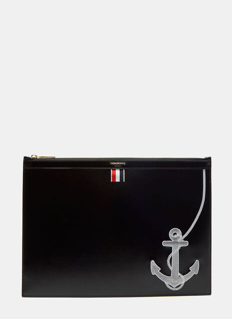 Medium Anchor Embroidered Document Case