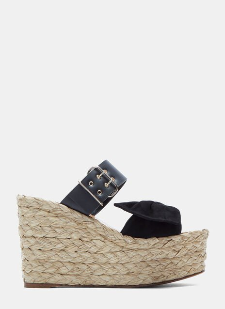 Suede Bow Woven Raffia Wedge Sandals