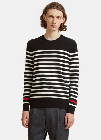 Striped Knit Crew Neck Sweater