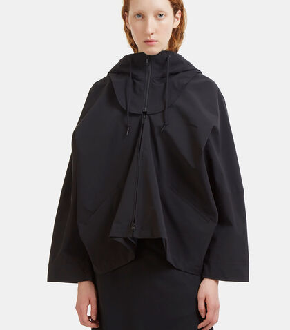 Detachable Hooded Batwing Sleeved Tech Jacket