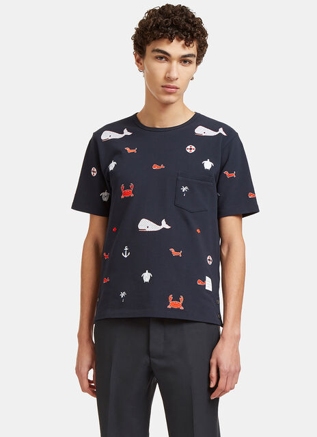 Embroidered Sea Motif Crew Neck T-Shirt