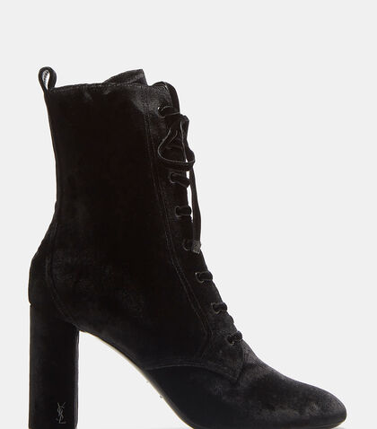 LouLou 95 Lace-Up Velvet Ankle Boots